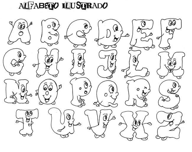 Alfabeto Para Colorir Ilustrado Vazado Para Recortar
