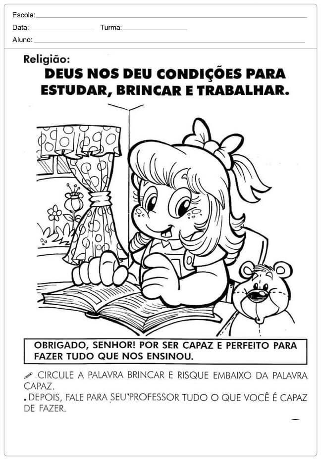 Atividades De Ensino Religioso 3º 4ª 5º Ano Para Imprimir