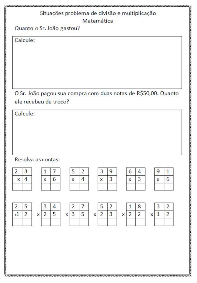 Atividades De Multiplicacao Para Imprimir 2º 3º 4º Ano