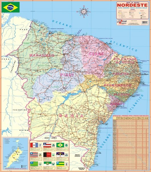 Mapa da Região Nordeste