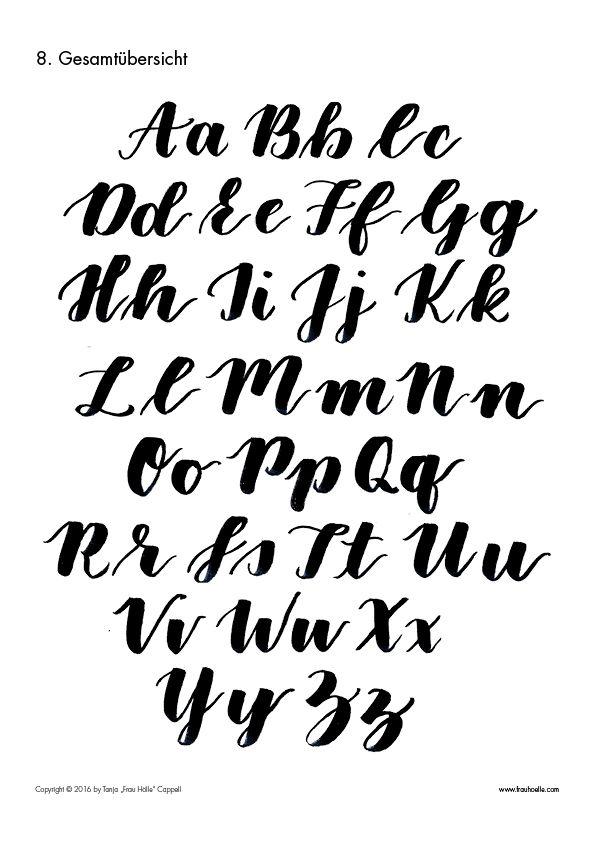 Alfabeto letttering maiúsculas e minúsculas